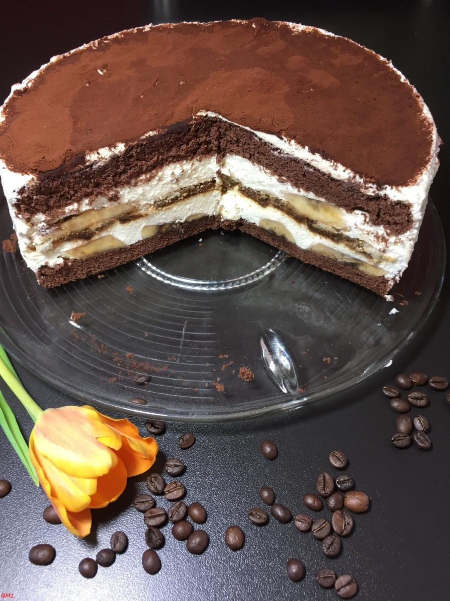 Tiramisu-Bananen-Torte...zum Dahinschmelzen lecker...mein 1. Bloggeburtstag