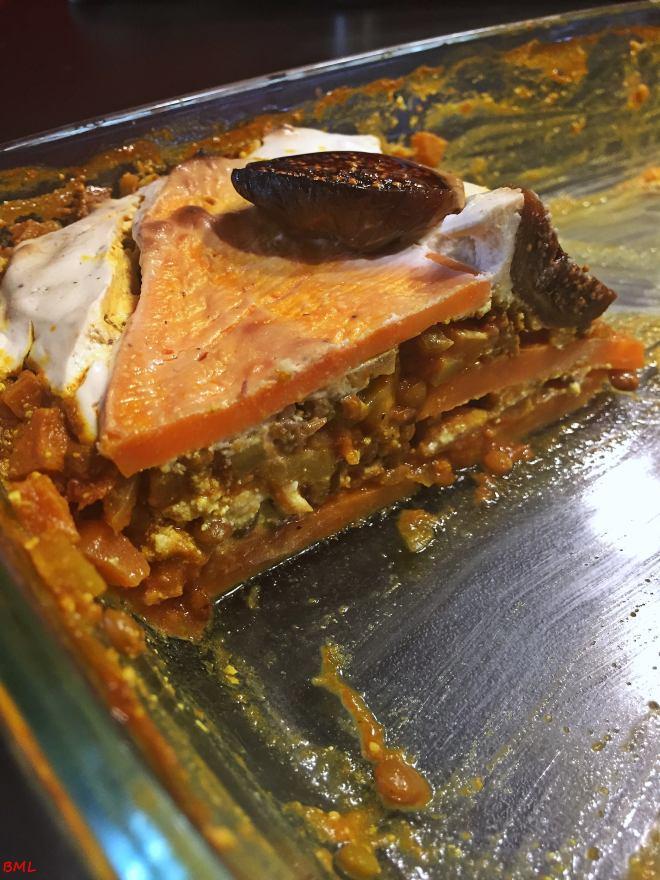 Süsskartoffel-Linsen-Lasagne