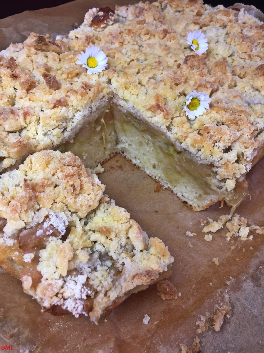 Buttermilch-Streuselkuchen mit Rhabarber-Apfelmus...schnell und lecker
