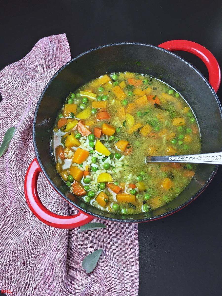 Reissuppe mit Kürbis, Erbsen und Salbei…das wärmt und schmeckt