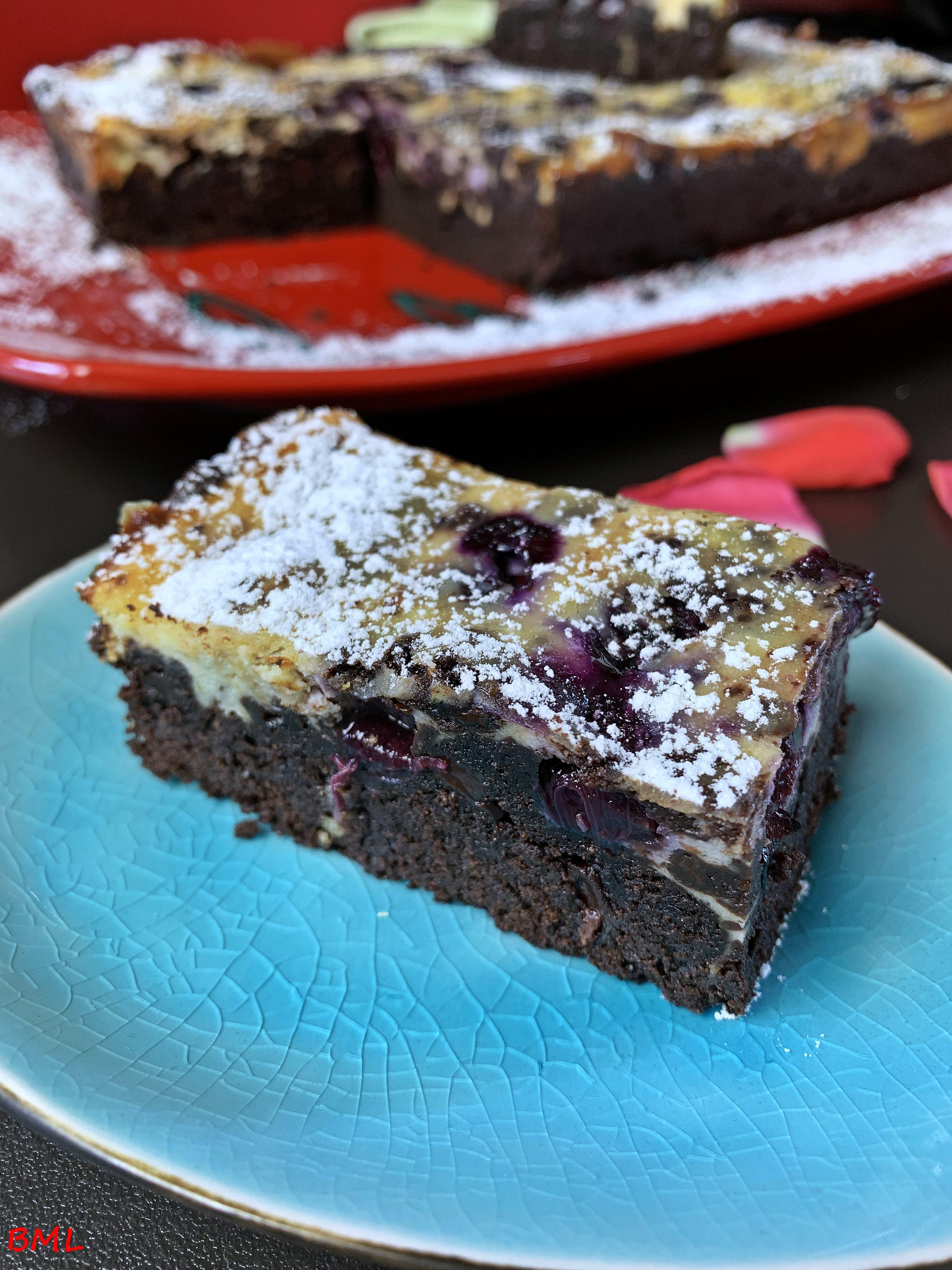 Brownie mit Frischkäse und Heidelbeeren…Schokoladengenuss pur