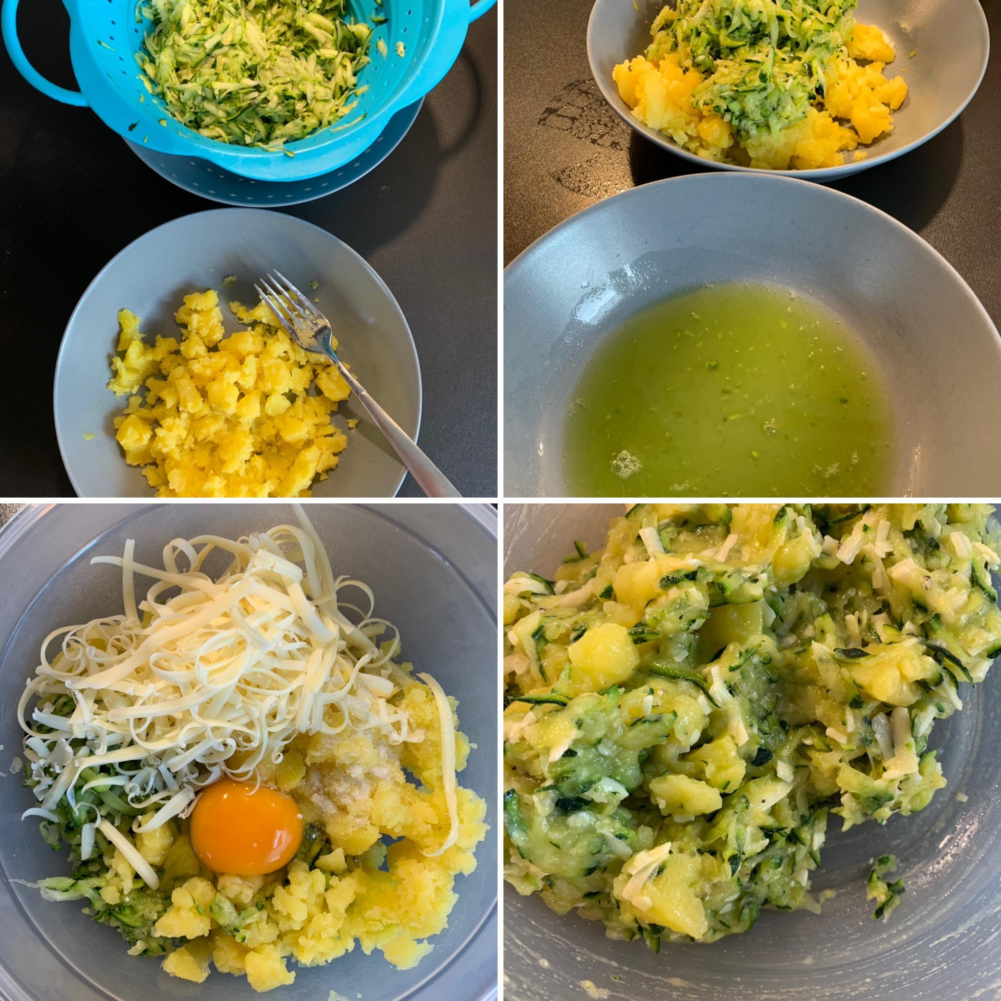 Zucchini-Kartoffel-Häufchen aus dem Airfryer