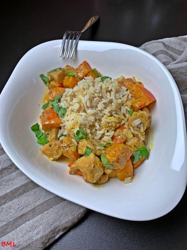 Hähnchen-Kürbis-Rahmpfanne mit Reis…würzig lecker